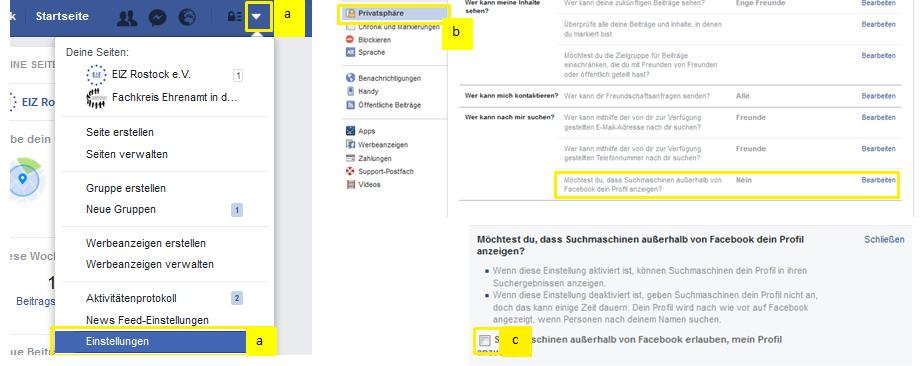 Deaktivieren der öffentliche Suche auf Facebook