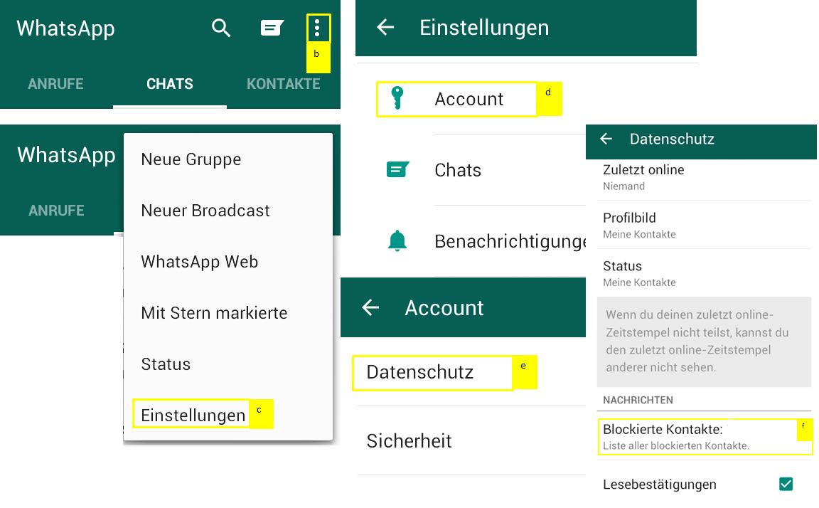 Kontakte auf WhatsApp blockieren