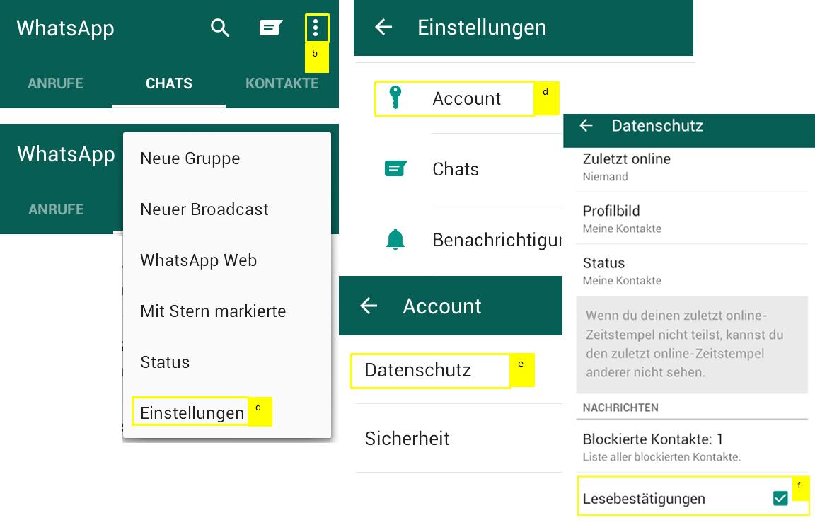 Lesebestätigung auf WhatsApp deaktivieren