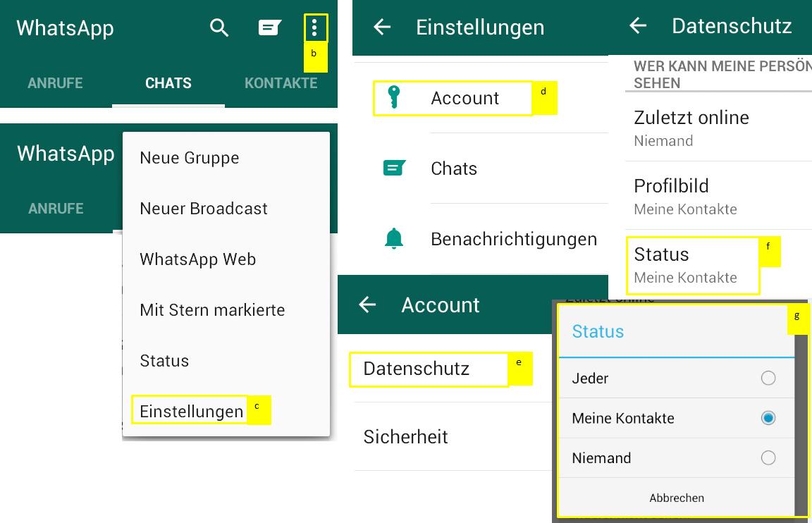 Status auf WhatsApp verbergen