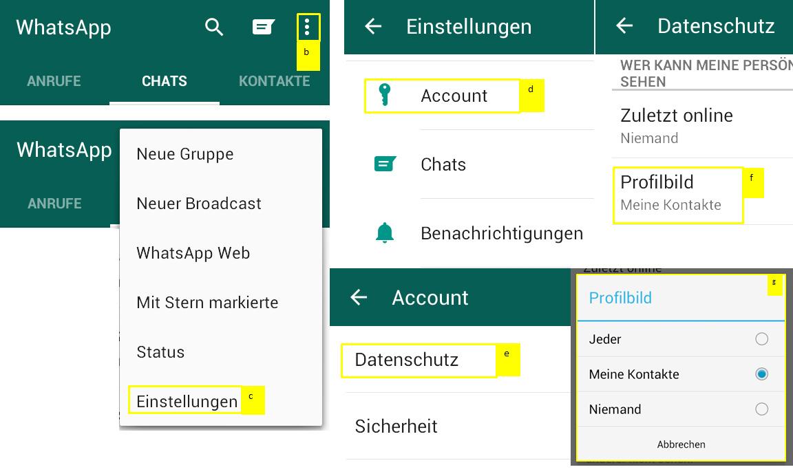 Profilbild auf WhatsApp verbergen